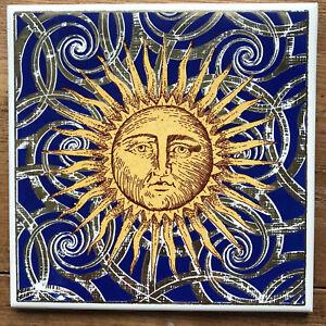 Fabulous18ct Gold Embellished Ceramic Sun Tile Fornasetti-style 15x15cm Unused