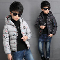 4-14Y Kids Boys Cotton Quilted Padded Jacket Puffer Coat Hooded Parka snowsuits