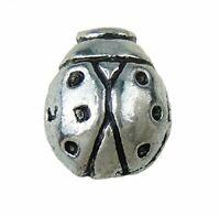 10 MARIENKÄFER Metallperlen 12mm Silber Spacer für Schmuck Halskette Armband J41
