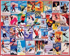 Jigsaw puzzle International Sports Ski Posters 1000 Piece NEW Made in USA