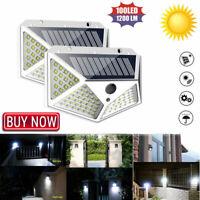 100 LED Solar Power PIR Motion Sensor Wall Lights Security Lamps Outdoor Garden+