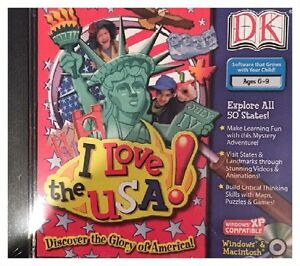 DK I Love The USA Pc Brand New XP Explore 50 States Landmarks Videos Maps