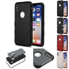 for Apple iPhone XS X TUFF Impact Armor Carbon Texture Case Cover PryTool
