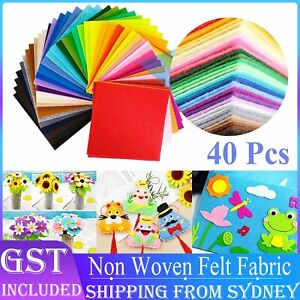 40pcs Mix Colour Squares Non Woven Felt Fabric Sheets For Kids DIY Art Handcraft