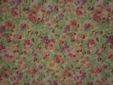 LAURA ASHLEY Pink Floral on Green Bedskirt Full Size Roses Lavender Shabby EUC