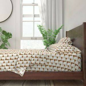 Cream Mid-Century Modern Tan And Brown 100% Cotton Sateen Sheet Set by Roostery