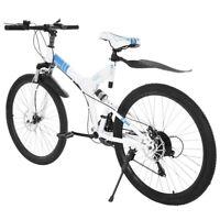 "26"" Folding Mountain Bike Shimano 21Speed Bicycle Front suspension MTB White New"