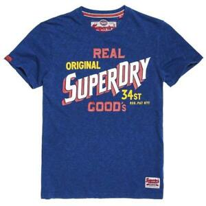 Superdry Men's 34st Goods Tee - Optic & Sonix Blue Grindle