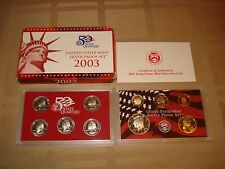 ORIGINAL 10 COIN 2003 S UNITED STATES MINT SILVER PROOF SET WITH COA FREE SHIP