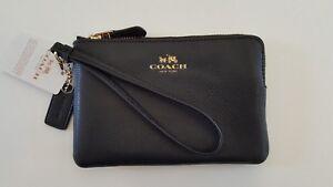NWT Coach F54626 Crossgrain Leather Corner Zip Wristlet Black