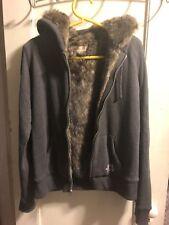 Holister Women's Fur Hoodie Jacket Sz Large