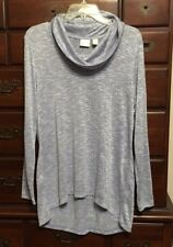 Chico's Lobelia Blue Mona Metallic Cowl Sweater Size 2 (12/14) NWT