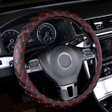 1pc 14'' 15'' Black/Red Car Faux Leather Auto Steering Wheel Cover Universal