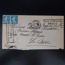 FRANCE LETTRE COVER FLAMME JEUX OLYMPIQUES PARIS 1924 POUR LE CAIRE EGYPTE