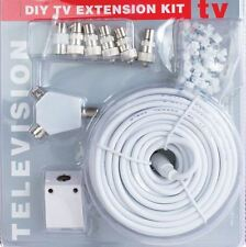 New 15m Satellite TV DIY Cable Extension Kit Sky Coaxial Cable Splitter