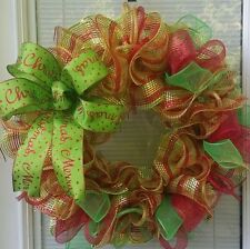 SALE CHRISTMAS HOLIDAY MERRY CHRISTMAS BOW WREATH DECO MESH RIBBON