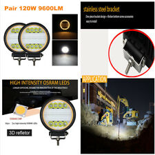 1 Pair 120W 9600LM Round Bright LED Work Light Flood Beam Driving DRL Fog Lamp