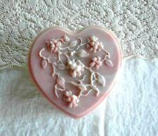"Beautiful Vintage Cameo HEART Box Jewelry Vanity Trinket Chest 6"" AVONDALE"