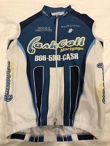 Mens HINCAPIE White/Blue Zip Up Biking Cycling Vest Medium KHS Team Cashcall M