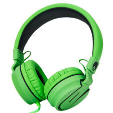 RockPapa Adults Kids Folding Headphones Mic Headsets iPod iPad iPhone Blk Green