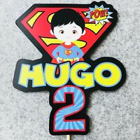 Superman PERSONALISED Cake Topper.  Lolly Bag Party Supplies Superhero Avengers