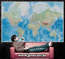 Miller Projection Weltkarte XXL Wanddeko Wohnzimmer Wanddekoration Tapete