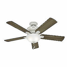 "Hunter  52"" Matheston Cottage White Ceiling Fan with Light"