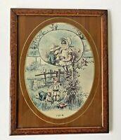GRAVURE ENCADRÉE ANCIENNE ENFANTS ET NID D'OISEAU 'JUIN'/ Vintage framed etching