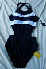 PROFILE SPORT by Gottex Women's 14 Black White One Piece Swimsuit $108 NEW NWT