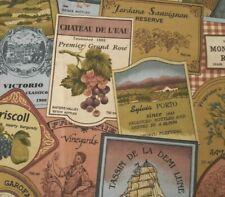 Wine Labels BTY VIP Cranston 100% Cotton Fabric Mauve Blue Sage