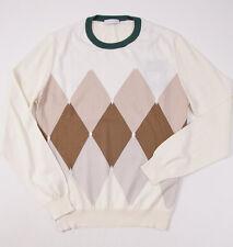 NWT $595 BALLANTYNE Cotton-Cashmere Sweater 50/M Cocoa Brown Argyle Crewneck
