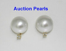 Diamond White Australian South Sea Pearl Stud Earrings 18kt 11mm