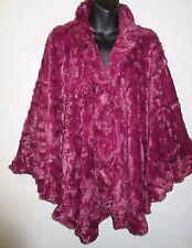 Faux Fur Cape Fits M L XL 1X 2X 3X Plus Wrap Shawl Wine Silky Cloak Luxury NWT