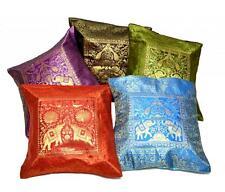 5 Traditional Elephant Embroidered Banarasi Brocade USA Pillow Cushion Covers