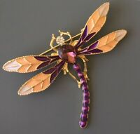 Dragonfly brooch pin gold Enamel On tone metal with crystals