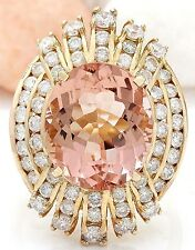 9.00CTW NATURAL MORGANITE AND DIAMOND RING IN 14K YELLOW GOLD