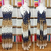 HOBBS dress maxi print jersey polka dot waist tie belt UK 10 US 6