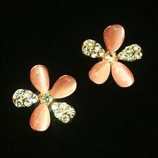 USA EARRING RHINESTONE CRYSTAL GEMSTONE FASHION STUD GOLD SIMPLE PINK FLOWER 2