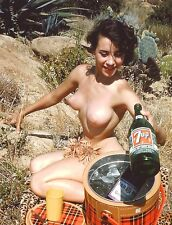 1960s Nude Pinup Outdoors with plaid  Ice Cooler pouring 7up 8 x 10 Photograph