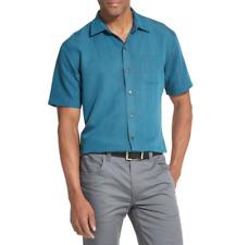 Van Heusen Men's Short Sleeve Button Down Shirt Blue Stripe Air Non-Iron Size: M