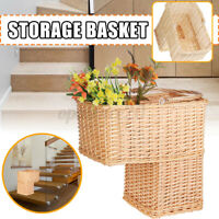 Wicker Handwoven Stair Step Storage Basket Container Carry with Handle Durable ~