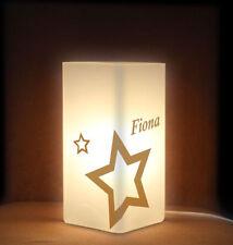 Tischleuchte Nachttischlampe Frostglas mit Wunschname und Sternen