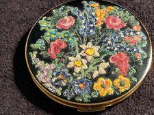 Vintage Unusual Bead-Enamel Stratton Powder Compact- Unused