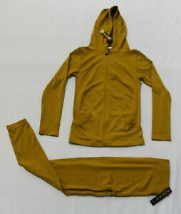 New Mix Women's Full Zip Hoodie and Leggings Set RH7 Golden One Size NWT