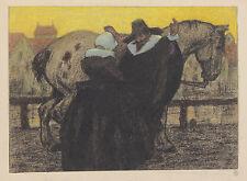 Käthe Olshausen-Schönberger. Paar in altertümlicher Kleidung vor Pferd...