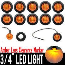 "10Pcs 3/4"" Round Side LED Marker Trailer Car Truck Bullet Light Waterproof Amber"