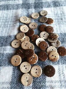 20 natural 15mm wooden sewing craft buttons 2 hole coconut shell