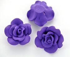 "2 Large GRAPE PURPLE Polymer Clay Rose Beads 1.5"" diameter pol0006"