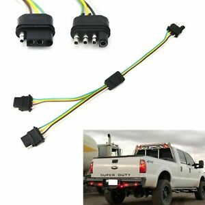 4-Way Flat Y-Splitter Dual Plug Adapter For LED Tailgate Light Bar or Trailer