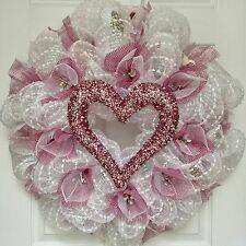 Bridal Or Valentines Day Wreath With Pink Pearl Heart Tulle Flowers Deco Mesh